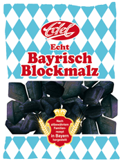 """Genuine Bavarian Block Malt Candies"" from Edel with new retail bag design"